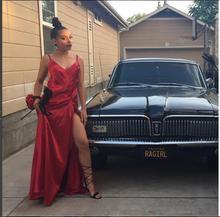 2017 Sexy Abendkleid für Schwarze Frauen Red Abendkleider V-ausschnitt Split Satin Neue Ankunft Preiswerte Lange Abschlussball-kleider Party Kleid Kleid