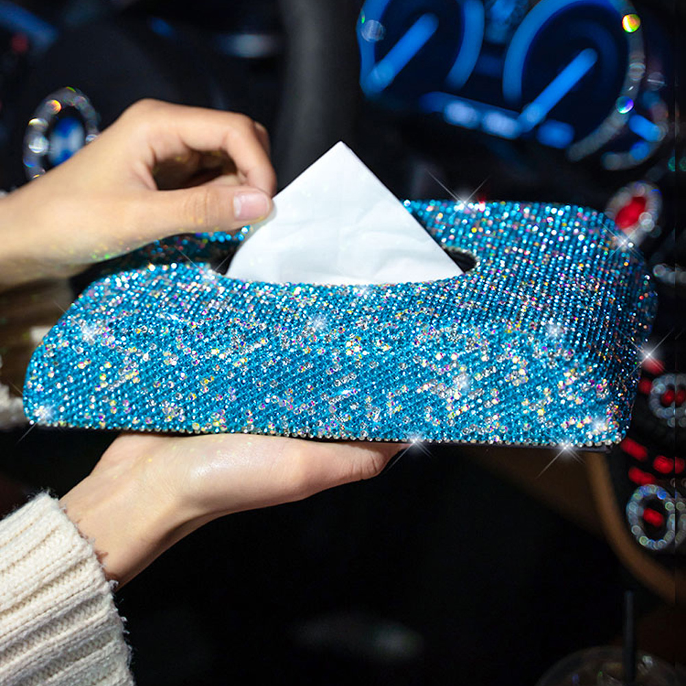 Bling Bling Vol Strass Rechthoekige Tissue Box Cover Houder voor Thuis Car Office
