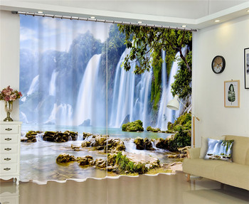 2017 Modern Luxury Waterfall 3D Blackout Window Curtains For Kids Bedding room Living room Hotel Drapes Cortinas