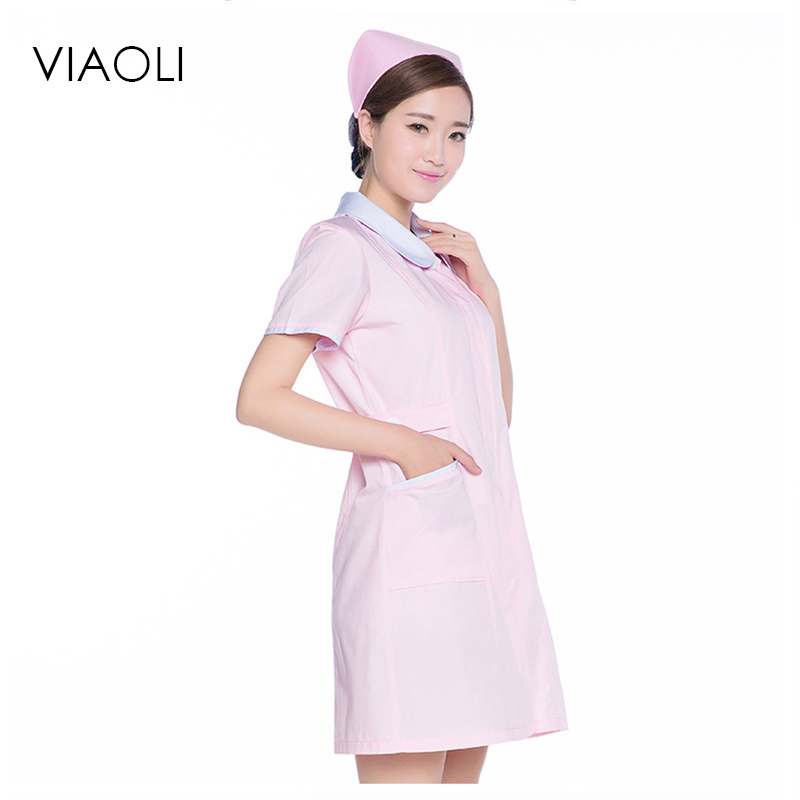 Viaoli Pink Medical Gowns Front Desk Nurse Uniforme Clinico Medical Uniform Uniform Beauty Salon Work Dress Longsleeve Hospital
