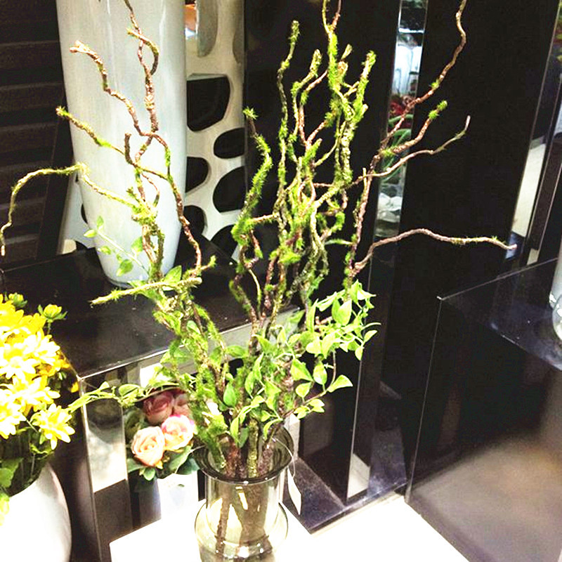 Artificial Tree Stem Green Leaves Dried Branches Flower Arranging Accessories Fake Plants Flocking Withered Vine Home Decor