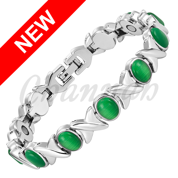 2016 Ladies Jade Green Cat Eye Stones Silver Magnetic Women Bracelet Jewelry Bio Healing Bangle Free Shipping via Hong Kong Post