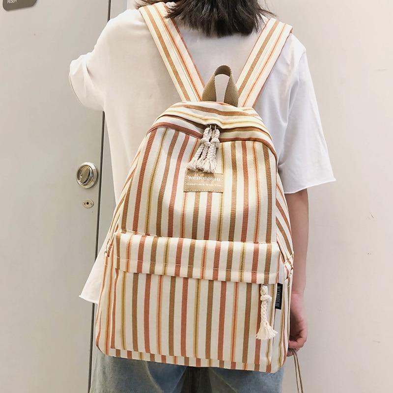 Image 3 - Female Canvas Plaid backpack Student women school bag girl Striped cute backpacks kawaii streak ladies harajuku bag book teenage-in Backpacks from Luggage & Bags