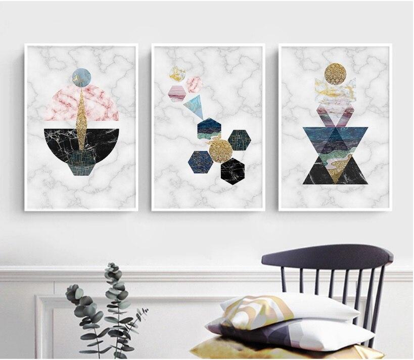Nordic simple geometric pattern canvas art print painting - Simple canvas painting for living room ...