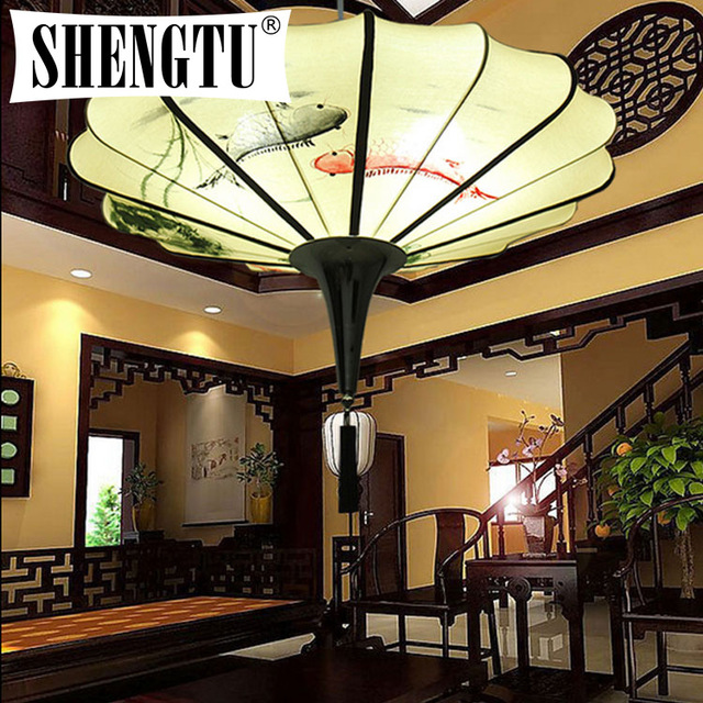 Chinese chinese hand painted fabric pendant lamp lamp lights bedroom ocean cloth hanging lantern light
