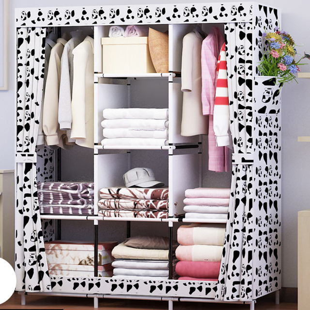 Waterproof Oxford Cloth Multi purpose Clothing Storage Cabinet Wardrobe DIY Assembly Reinforced Folding Storage Closet Furniture