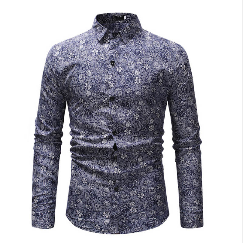 New Spring Men Casual Shirts Fashion Long Sleeve Brand Printed Button-Up Formal Business Polka Dot Floral Men Dress Shirt M-3XL