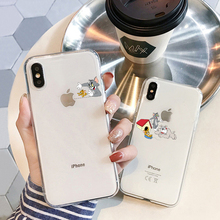 Funny Cartoon Phone Case For iPhone 6 6S 7 8 Plus 5 5S SE Cute Cat Tom Cover  For iPhone X XS Max XR Soft Silicone clear Case