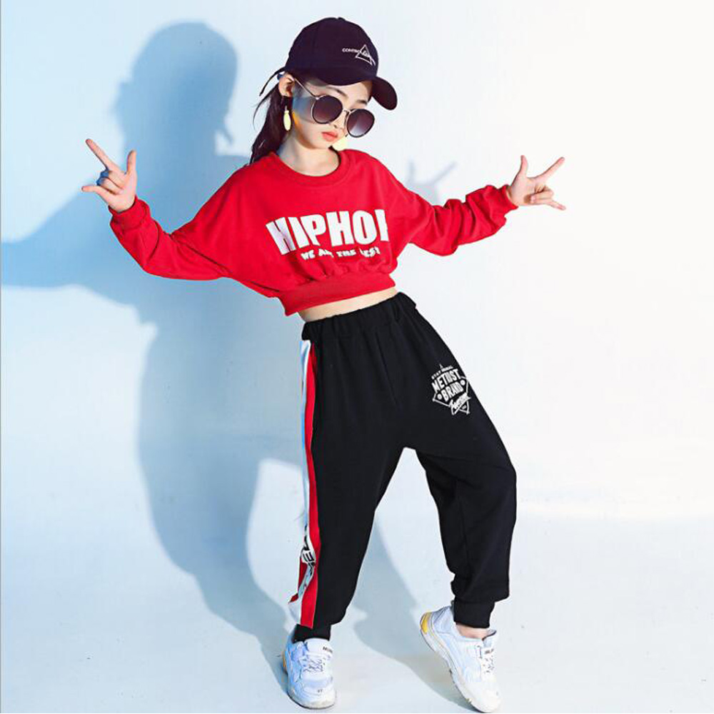 Girl Red Long Sleeve Hip Hop Dance Costumes Jazz Clothes For KidS Crop Sweatshirt Shirt Top Pant Stage Ballroom Dancing Clothing