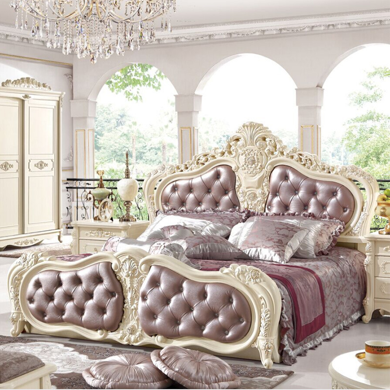 European Royal Style Queen King Size Leather Beds 18 Meter Double Bed Solid Wood Furniture In From On Aliexpress