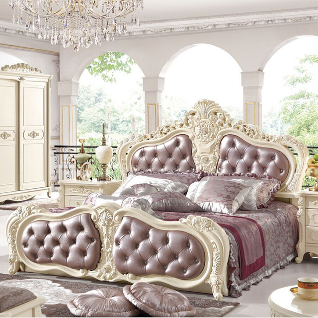 European Royal Style Queen King Size Leather Beds 1.8 meter Double ...