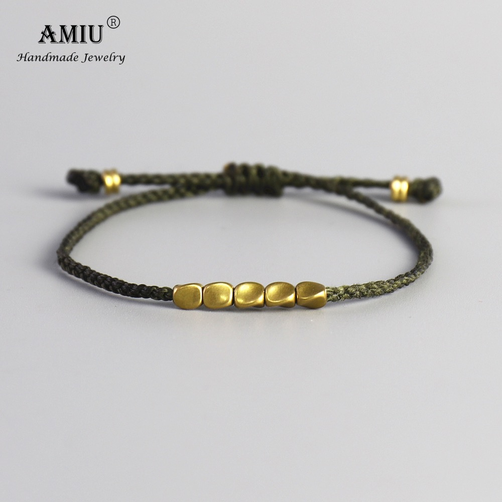 AMIU Handmade Tibetan Copper Bead Lucky Green Rope Bracelet & Bangles For Women Men Wax Cord Thread Bracelets