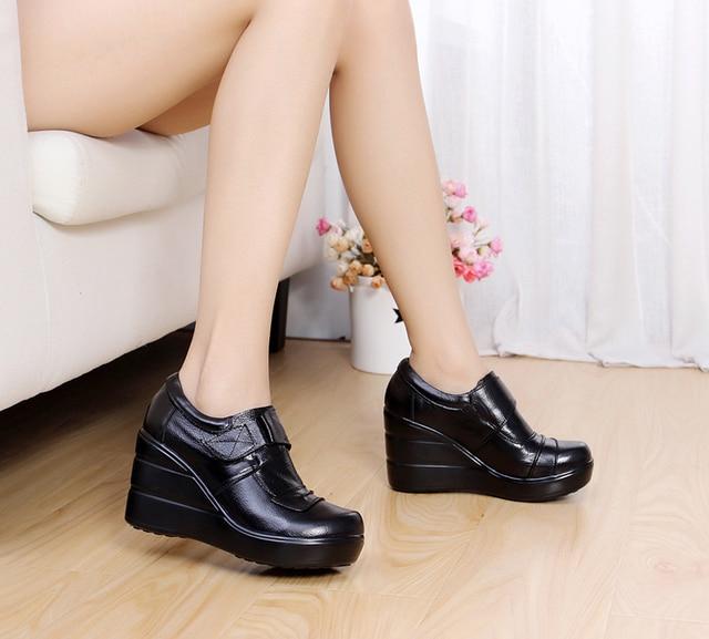 Коровьей натуральной кожи платформа весна и осень глубоко рот обувь одного на высоких каблуках платформы женская обувь клинья