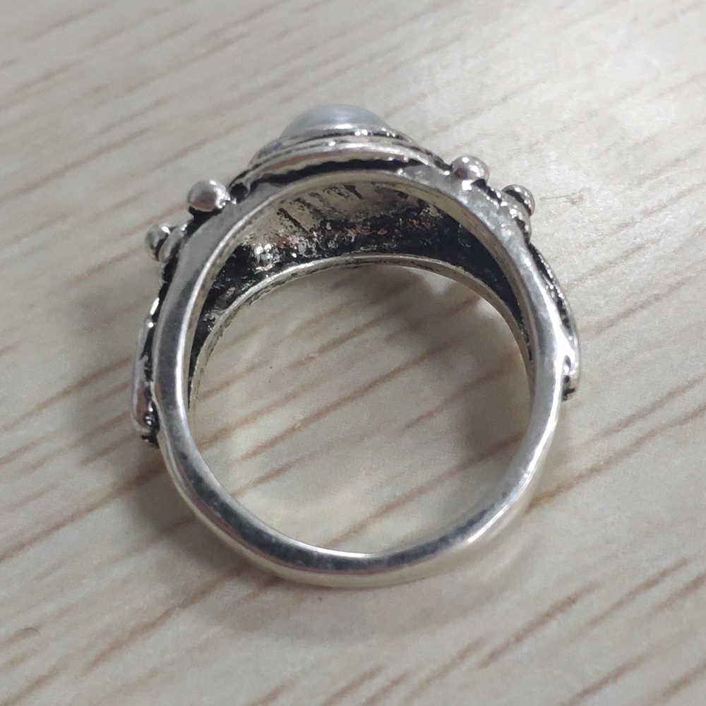בציר לבן פנינה טבעות לנשים פשוט כסף טבעת אירוסין לחתונה טבעת תכשיטים Bague Femme Anillos Mujer E5T594