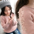 High Quality 2017 Girls Fashion Beaded Embroidered Knitted Sweater Children Fall & Winter Pullovers Clothes Kids Knitwear G167