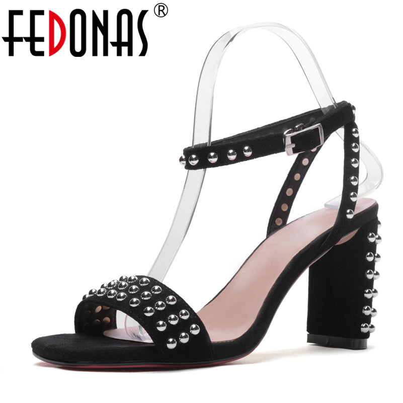 FEDONAS Sexy Punk Black Women Genuine Leather Shoes Woman Sandals Summer Buckles Rivets Party Shoes Female Platforms Sandals fedonas sexy women sandals high heel buckles wedding party shoes woman genuine leather ladies shoes pointed toe summer slippers