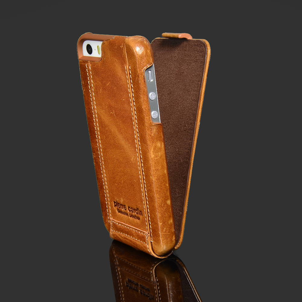 buy popular b52be 0d526 US $24.29 10% OFF|for Apple iPhone 5 5S SE Phone Case Luxury Genuine  Leather Flip over Case Classic style Open Up and Down -in Flip Cases from  ...