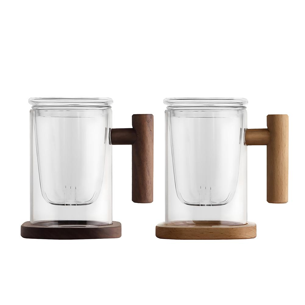 400ml Wooden Handle Double Wall Borosilicate Glass Tea Cup With Filter Heat resistant Transparent Tea Flower Coffee Cup