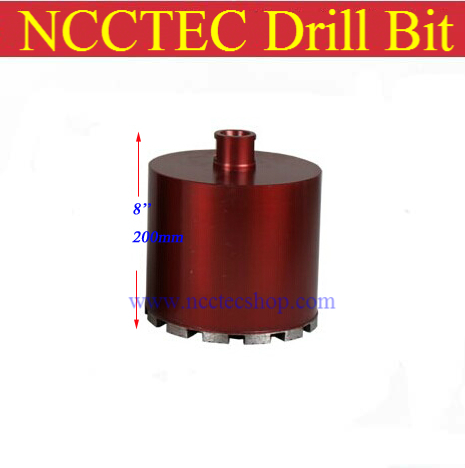 180mm*200mm short crown wet diamond drilling bits | 7.2'' concrete wall wet core bits | Professional engineering core drill dsp professional wet
