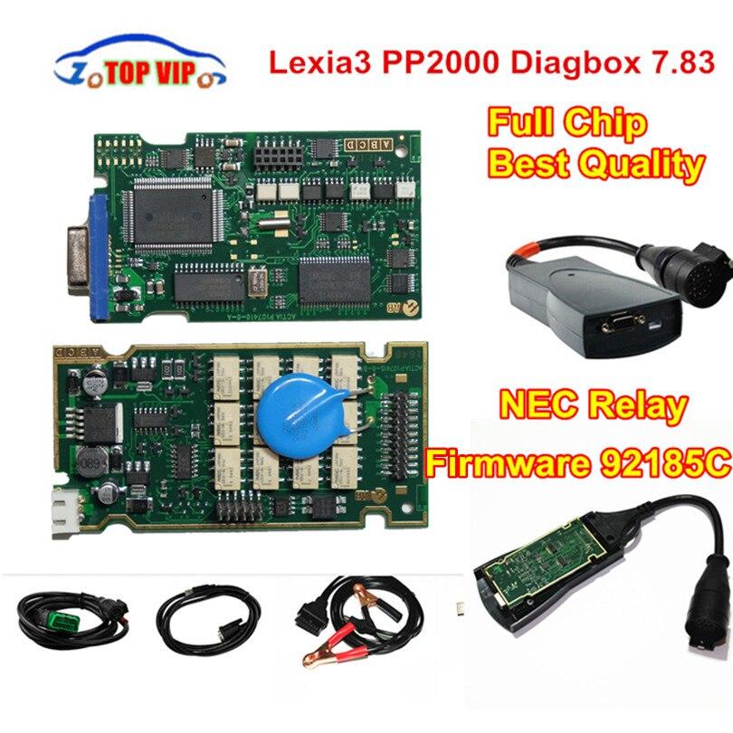 A++ Quality Full chip PP2000 Lexia3 FW 921815C Gold Edge NEC Relay Diagbox 7.83 Lexia 3 PP2000 OBD2 Diagnostic-Tool Auto Scanner