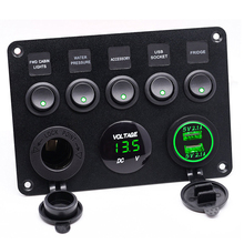 5 Gang Green LED Toggle Rocker Switch Panel Voltmeter Dual USB Socket Charger On - Off Switch Boat Marine Truck 5 gang on off car toggle switch panel 4 2a dual usb socket charger led voltmeter cigarette lighter boat marine truck switches