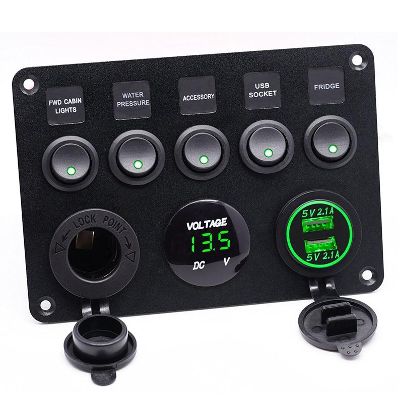 Inline Fuse font b Box b font LED Rocker Switch Panel Voltmeter Dual USB Socket Charger