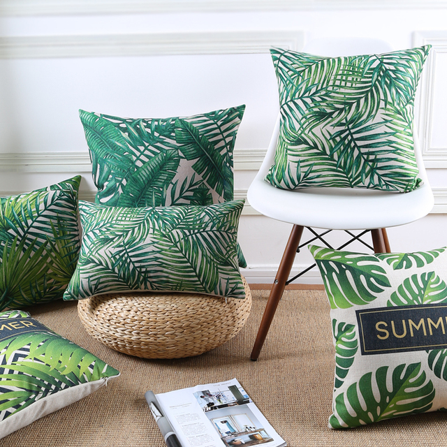 Green Decorative Throw Pillows Cover Summer Jungle Tropical Leaves