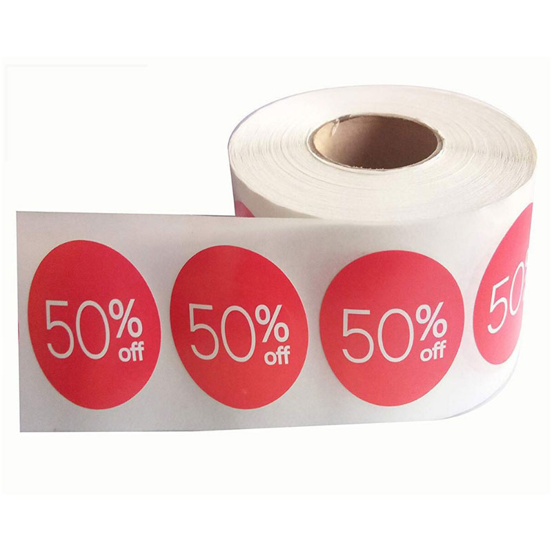 Sale Price Tag Discount Sticker Retail Store Clearance Promotion Discount Price Tag Half Fold Label Sticker (1.5 Inch, Red)