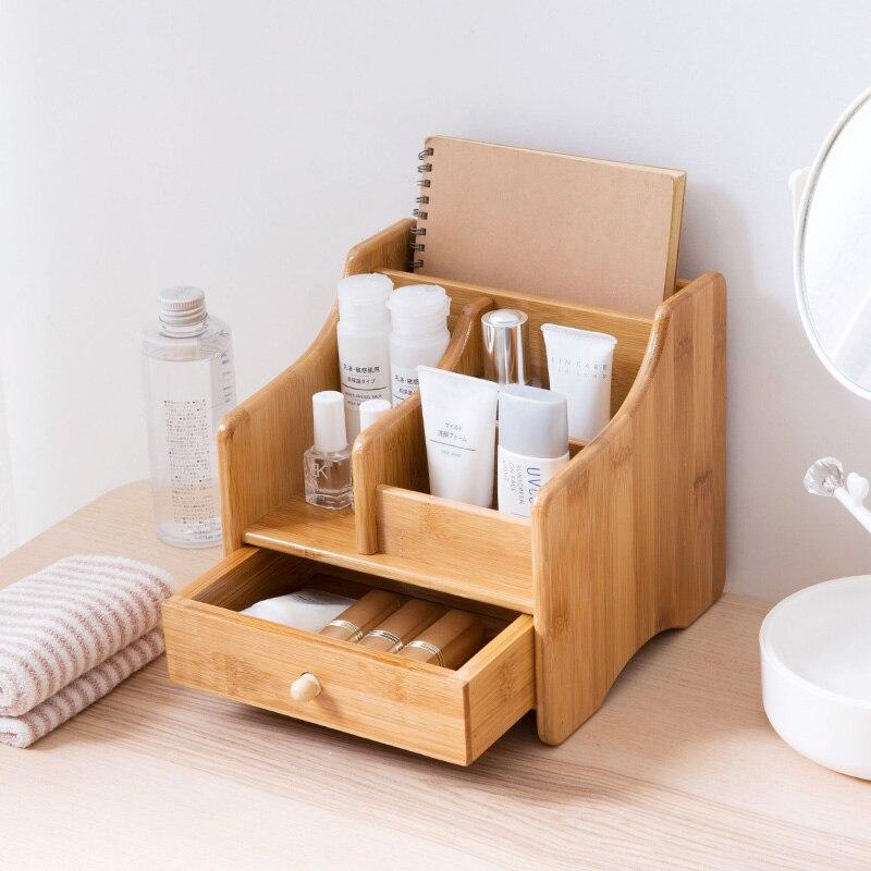Bambou bureau télécommande boîtes de rangement sur la table boîte à mouchoirs salon table basse cosmétiques papeterie supports - 4
