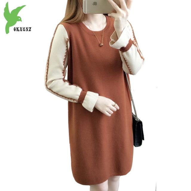 New Boutique Autumn Winter Women Knit Sweater dress Fashion Loose Pullover Sweater Medium length Bottom shirt Dress OKXGNZ A1262