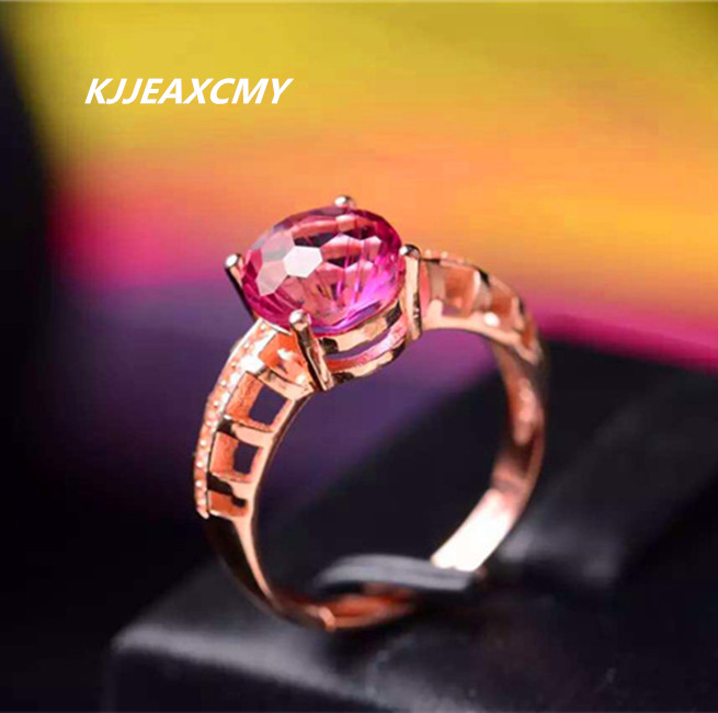 LJJEAXCMY fine jewelry Pure natural Red Topaz stone ring hollow ring personality arm 925 rose gold silver new pure au750 rose gold love ring lucky cute letter ring 1 13 1 23g hot sale