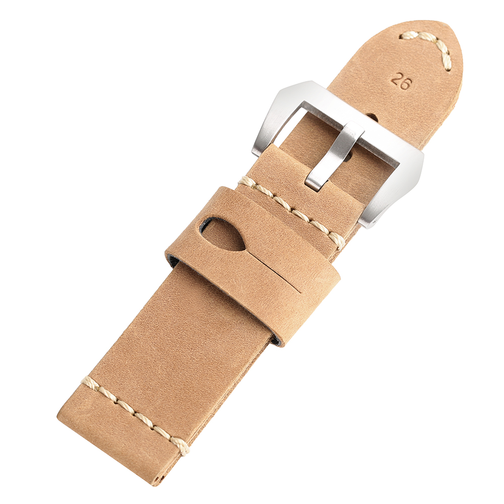 High Quality Band 24mm 26mm Genuine Leather Watch Strap Black/Brown Watchband Men Women Sports Watch Replace + 2 Spring Bars high quality genuine leather watchband 22mm brown black wrist watch band strap wristwatches stitched belt folding clasp men
