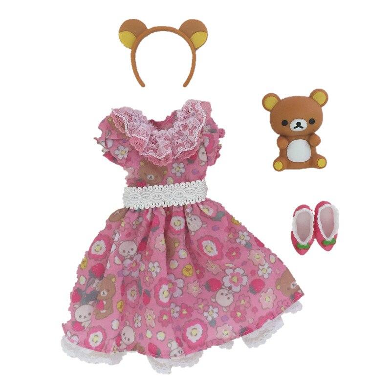 Original Licca Doll Accessories Dress Bear Headband Strawberry Shoes For Licca Doll 1/6  Doll Dress