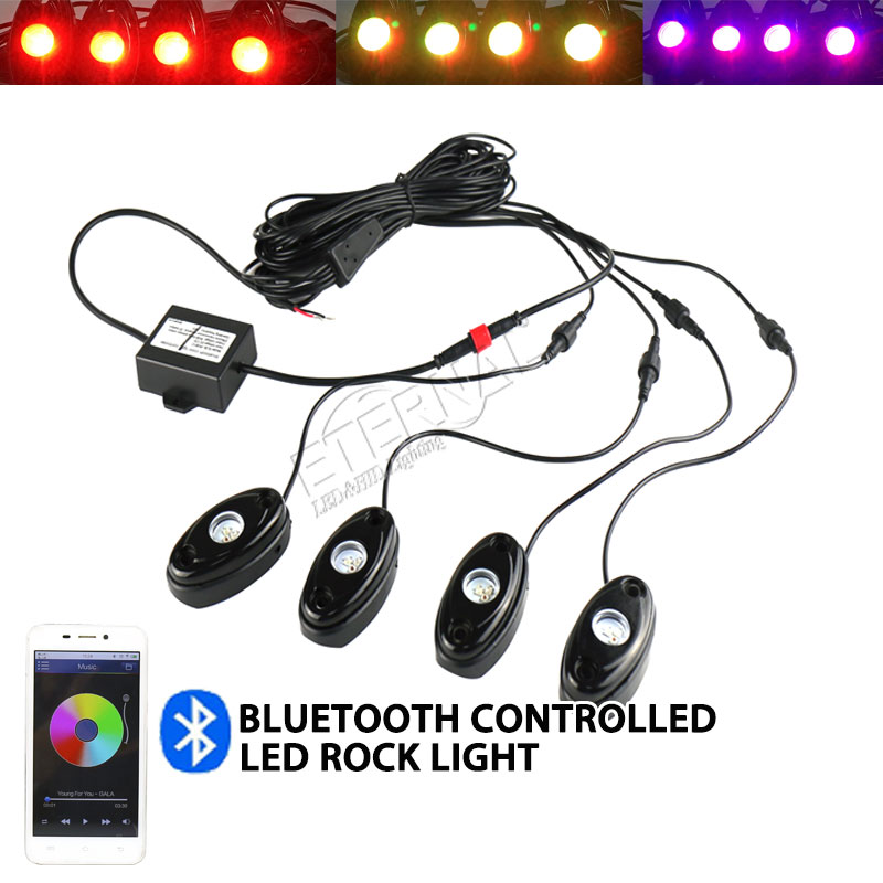 wireless remote 4pcs set mini RGB LED rock light Off Road ATV golf cart Truck Vehicle Rock Crawler marine boat yatch rock lamp