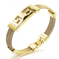 Full Gold Plated Stainless Steel Men Bracelet Jewelry Punk Heavy Metal Bracelets Bangles Retro Male Accessories