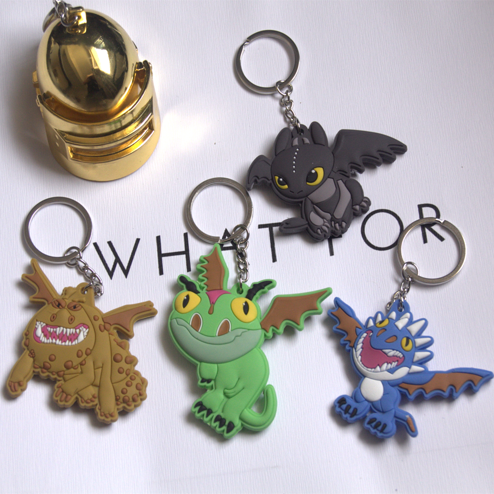 Anime Cartoon How to Train Your Dragon Night Fury Soft PVC Keyring Keychain Two Sided Key chain