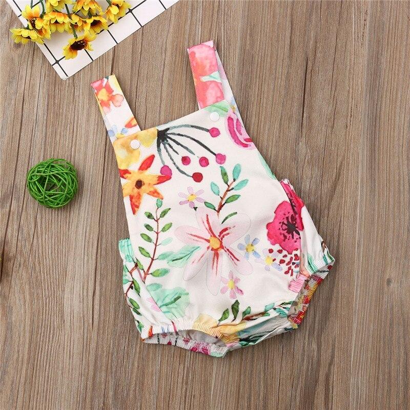 Lovely Newborn Baby Girl   Romper   Sleeveless Backless Strap Jumpsuit Toddler Kids Sunsuit Summer Cozy Baby Clothing 0-24M