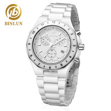 BINLUN Japanese Movement Pure White Ceramic Women's Sports Watch Waterproof Scratch-proof Luminous Dial Women's Quartz Watches