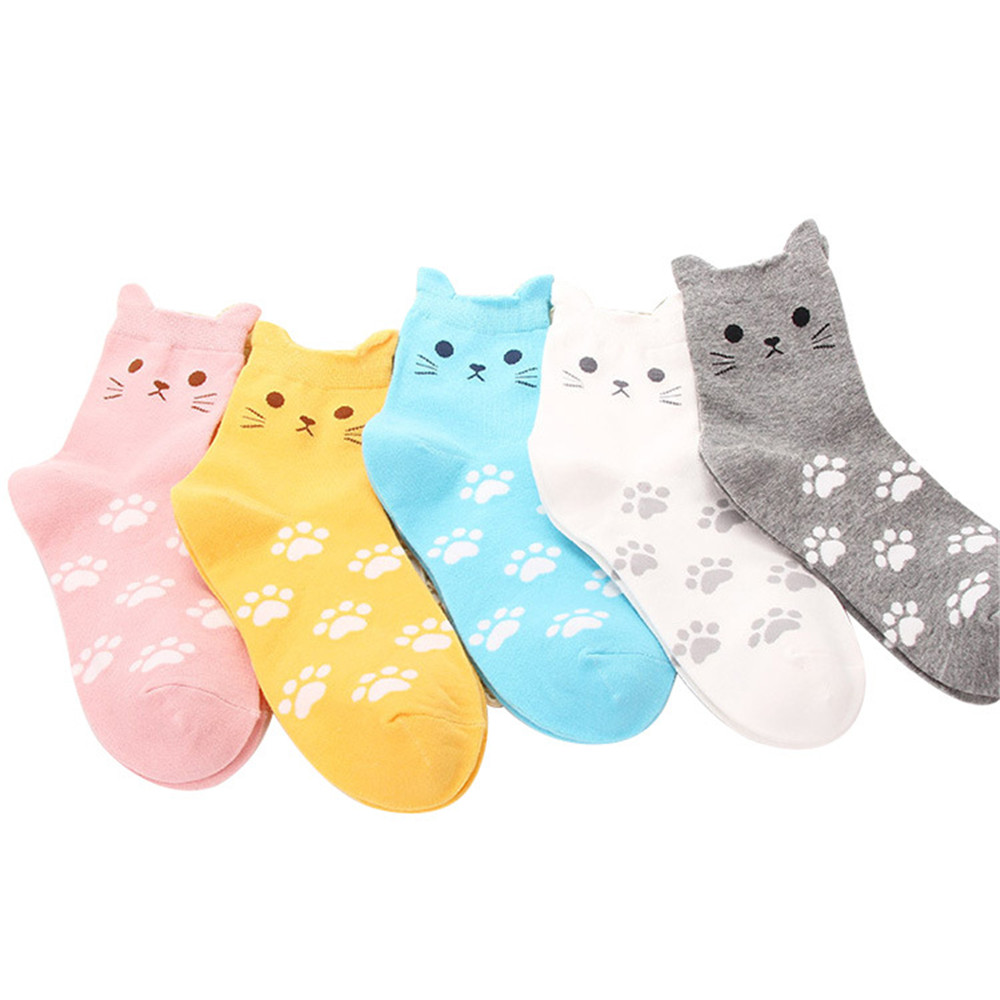 5 pair  women lovely 3D  Cat Animal Socks Autumn winter warm Cotton women casual socks cosplay