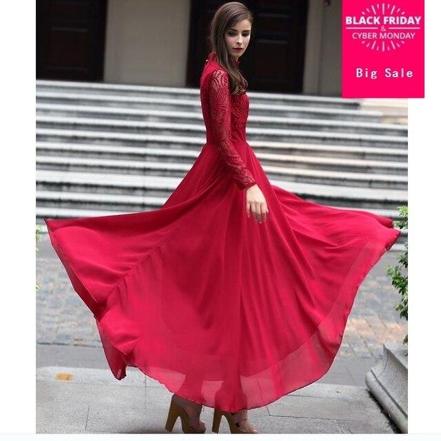 2564e119ea 2018 Caftan Adult Chiffon Fashion Marocain Islamic Clothing 2018 Rushed  Jilbab Women Muslim Long-sleeved Lace Dress Abaya W120