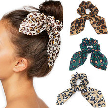 Cute Scrunchies Leopard Rubber Hair Ties Bunny Ears Scrunchie Women Elastic Hair Bands Girls Animal Print Ponytail Holder(China)