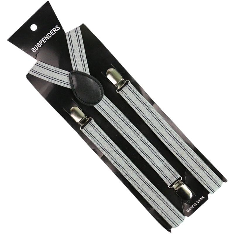 2019 New Unisex  2.5cm Wide Black White Blue Striped Adjustable Men Womens Y-Back Suspenders