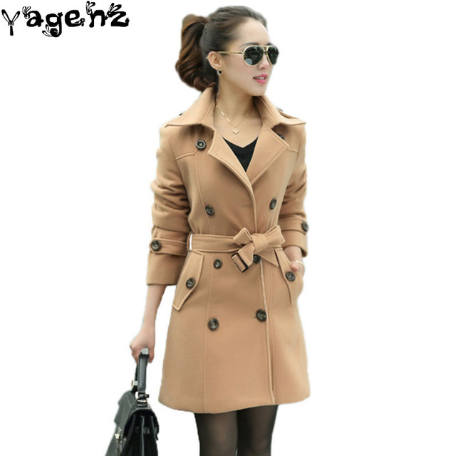 2017 Autumn Long Trench Coat For Women Winter Casaco Khaki With Belt Double-Breasted Warm Cardigan Feminino Wool Coat C26