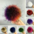 100% Real Whole Raccoon Fur Pom Pom Keychain 13 CM Fur Balls Genuine Fur Pompons for Bag Hats Cap Scarf Gloves with Buttons