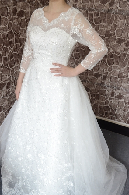 Brillante Vestido Novia Más Manga De Encaje Transparente Larga Largo r0rqpx6