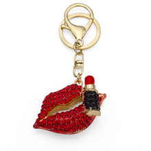 6pcs/lot High Quality Rhinstone Mouth Fur Keychain Big Charm Lipstick Female Key Chain Metal The Woman Best Gift