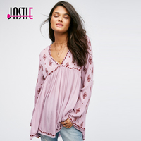 Jastie Diamond Embroidered Top shirt Sexy V-Neck Open Back Tunic Tops Bell Sleeves Blouse High Low Hem Beach Casual Blusa Shirts