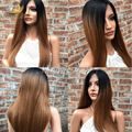 Glueless Full Lace Human Hair Ombre Wigs 130 Density Silky Straight Long Full Lace Wig With Bleached Knots Fast Free Shipping