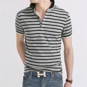 الرجال قميص بولو 2019 الصيف الرجال الأعمال عارضة تنفس الأبيض مخطط قميص بولو بكم قصير قميص القطن الخالص العمل الملابس بولو