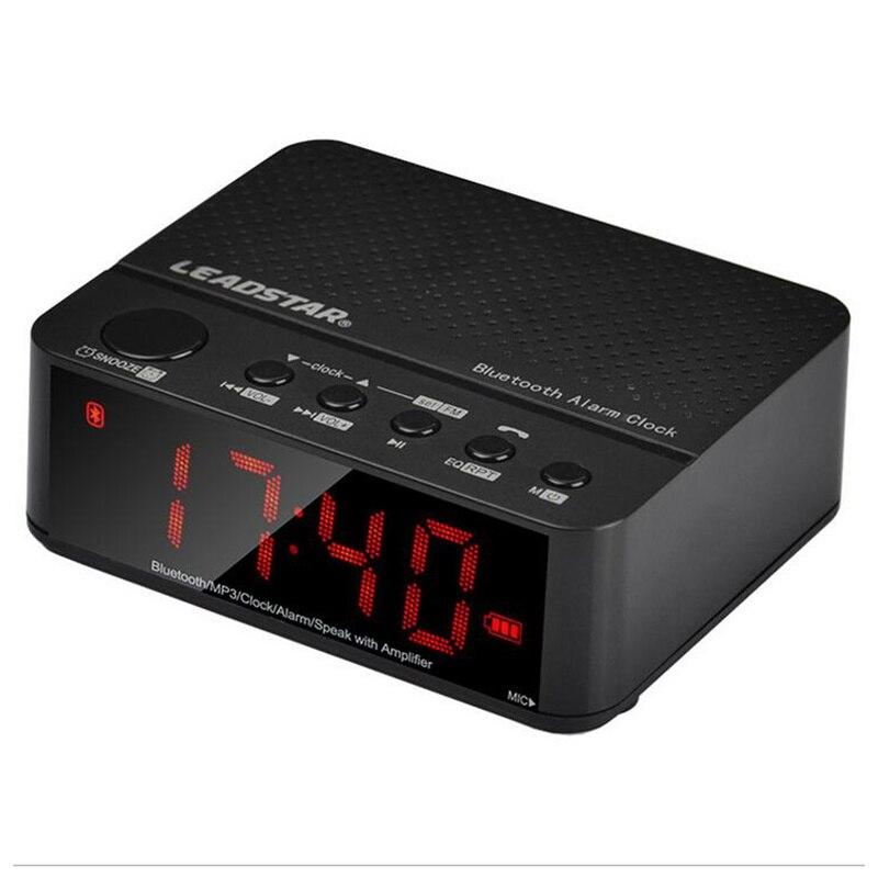 LEADSTAR LED Digital TF DC 5V Wireless Amplifier Clock A2DP HIFI Stereo Speaker Alarm Clock Bluetooth Speaker FM Radio MP3